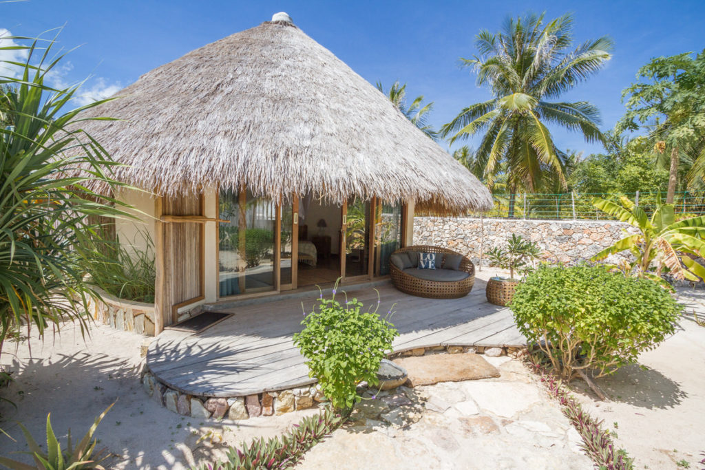 Oceanview Bungalows is combination with traditional palm thatched roofing